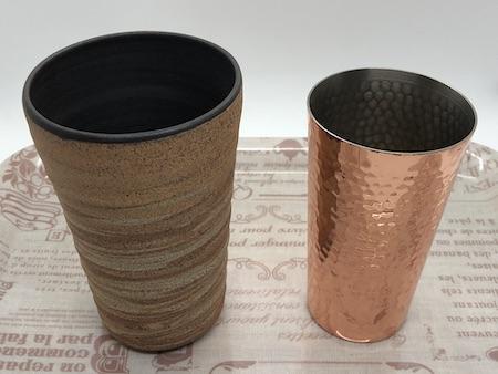 ビアグラス(銅製・焼き物)の写真